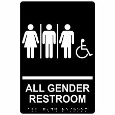 All Gender Restroom Sign, ADA-Compliant Braille and Raised Letters, 9x6 inch...