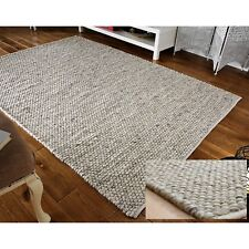 SMALL - LARGE THICK LIGHT GREY PEBBLES BOBBLES BOBBLY 100% WOOL 3D RUG CLEARANCE