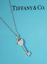 Tiffany & Co Sterling Silver Small 1 Inch Heart Diamond Key Necklace