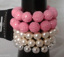 bracelet 5 piece stretch set of 2 pink rose 2 faux pearl and 1 silver colour new