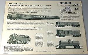 Supplement For Märklin Catalogue 47 D Å