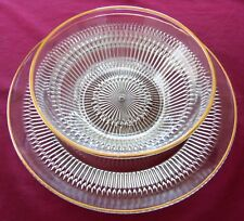 Jeannette Clear Glass w/. Gold Trim Cake Plate or Large Platter & Serving Bowl