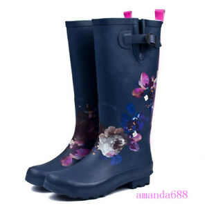 Fashion Floral Printed Rubber Pull on Mid-calf Rainboots Womens Water Shoes Size