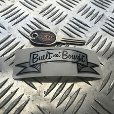 built not bought silver decal 100 x 30mm hotrod vw kustom motocycle sticker