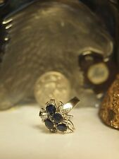 14CT WHITE GOLD LADIES NATURAL SAPPHIRE & DIAMOND CLUSTER RING / SIZE : M 3/4 !
