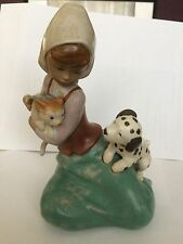 Lladro  Dog And Cat - girl with cat and dalmatian puppy retired 1998.  Gres 2266