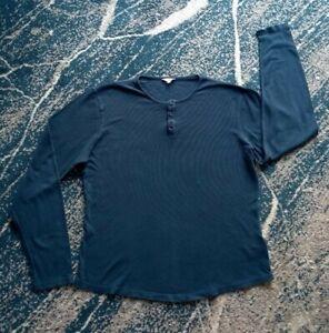 Orlebar Brown M Men's Long Sleeve Blue Men's Top Crew Neck Buttons