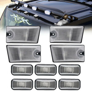 10PC Clear Lens Cab Roof Clearance Top Light Cover Kit for 03-09 Hummer H2 SUT