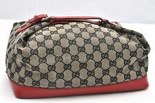 Authentic GUCCI Hand Bag GG Canvas Leather Brown Red Black 97488
