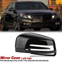 Black Left Driver Side Mirror Cover Cap For Benz C E S Class W204 C207 W212 W221