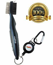 Golf Brush and Club Groove Cleaner - Easily Attaches to Golf Bag - Black