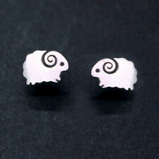925 Sterling Silver farm Sheep Stud Earrings Small Hopping Lamb Lover