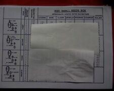 Massey Ferguson MF 500 drill / seeder, Small seeds box RATES CHART