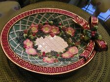 Vintage Fitz and Floyd Classics Christmas Wreath Oval Serving Bowl Retail $47
