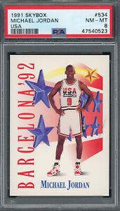 Michael Jordan Team USA 1991 Skybox Basketball Card #534 Graded PSA 8