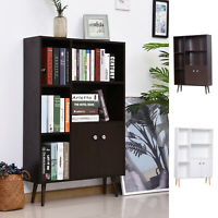 Bookcase Storage Cabinet Shelves Unit Free Standing w/ Two Doors Wooden
