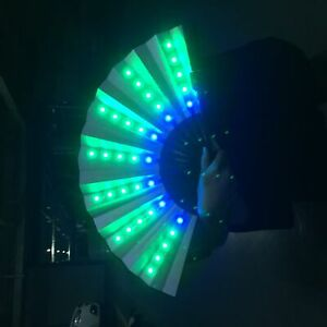 LED Light Up Flashing Hand Fan Concert Party Rave Dance Stage Carnival 6Colors