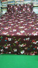 Cotton Maroon Floral Printed Queen Size Bed Sheet 2 Pillow Cover Set