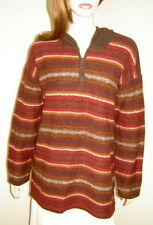 DEANE & WHITE Autumn Brown Stripe Oversized Hooded Lambs Wool Poncho Sweater (M)