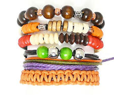 Set Of Bead / Cord & Leather Surf Surfer Style Bracelets Wristbands Adjustable