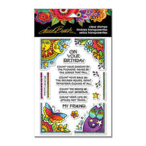 Laurel Burch Birthday CLEAR Unmounted Rubber Stamp Set STAMPENDOUS SSCL108 New