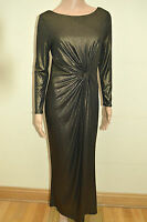 New M&S Petite Collection Gold Twist Front Long Sleeve Maxi Dress Sz UK 10