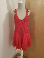 Free people ASOS red victoriana lace backless dress small 8 10 12