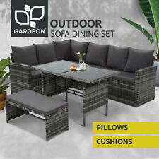 Gardeon Outdoor Sofa Set Dining Lounge Setting Chairs Table Bench Patio Grey