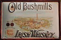 Old Bushmills Whiskey Distillery embossed  steel sign 300mm x 200mm (hi)