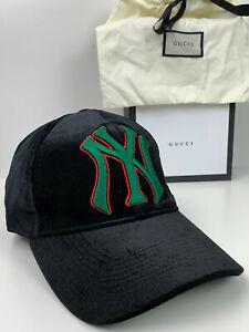 Rare Gucci Velvet Baseball Cap Hat NY Yankees Unisex Black One Size