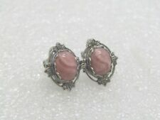 Vintage Rhodochrosite Clip Earrings, Silver Tone, 1980's