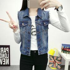 Women Fashion Denim Waistcoat Sleeveless Coat Slim Short Casual Jean Jacket Vest