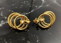 Classic Vintage Gold-tone Hoops Clip on Earrings Jewellery by Trifari
