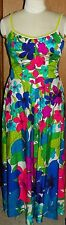 Vtg Hawaiian Long Maxi Full Sweep Floral Dress De Weese Design Bra Top Sz 16/38
