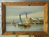 Mary Morgan signed Seascape / Nautical original Oil on canvas