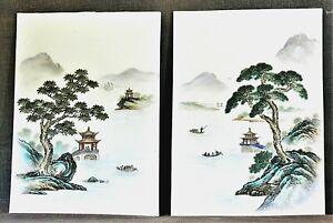 Pair Chinese Hand Painted Porcelain Landscape Plaques