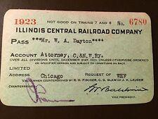 1923 Illinois Central Railroad Company railroad pass