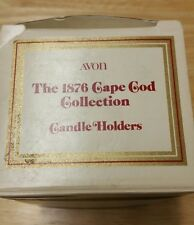 VINTAGE RED GLASS 2 piece candle stick holders AVON CAPE COD 1876 new in box