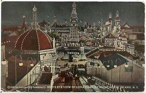 Bird's Eye View of Luna Park, Coney Island NY Postcard 1922 Amusement Park