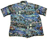 Reyn Spooner Art of Eddy Y Mens All Over Print Classic Cars Shirt Size XL