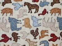 FAT QUARTER FARM ANIMAL FABRIC COUNTRY CALICO BOUNTIFUL QUILTING TREASURE COTTON