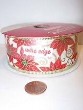 """30 feet red white gold 1 1/2"""" wide Ribbon Party Supplies wire edge christmas"""