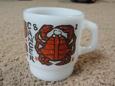 vintage Fire King CANCER Zodiac Astrology Mug Anchor Hocking USA Oven Proof