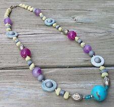 Vintage Tribal Boho Lucite Bead Necklace