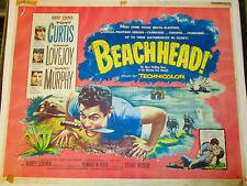 BEACHHEAD! '54 TONY CURTIS ORIGINAL CLASSIC HALF-SHEET FILM POSTER!