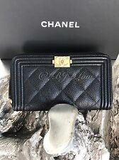 NWT CHANEL 2017 Black Caviar Boy Wallet Small Medium Zip Coin Purse Card Case