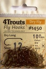 100 FLY TYING HOOKS #12 for tying Dry Flies Bronzed 4Trouts 1xLong, Series 1450