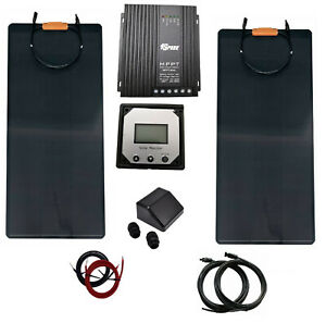 300W 2x150W flexible solar panel kit 40A MPPT charger controller motorhome boat