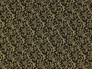 Christmas Fleur Black Gold Metallic 100% Cotton Fabric 48413