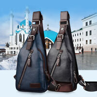 Men's Leather Chest Sling Backpack Shoulder Cross Body Messenger Bag Satchel New